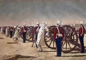 Maulvi Baqir was publicly executed on 16 September 1957. He and other Islamic scholars were tied to the mouth of the canons and blown up. The above painting by Russian artist Vasily Vereshchagin portrays the execution.