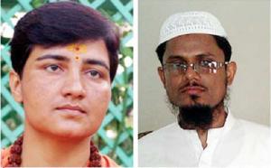 (L) Sadhvi Pragya (R) Maulana Tariq Qasmi