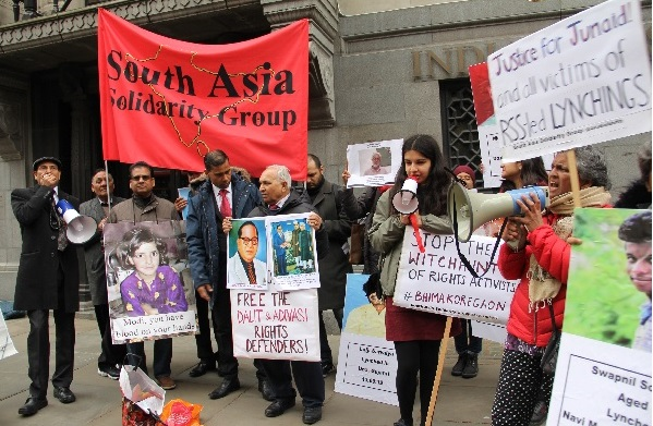 "UK Indians Join International ""People's Agenda 2019"" Protests, Hold Vigil Outside India House"